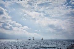 Sailing in Saronic Gulf. Yachts sailing in the Saronic Gulf, Greece Royalty Free Stock Photo