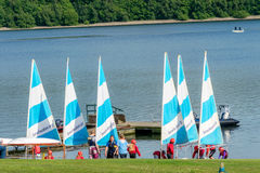 Sailing school on Bewl Water resevoir. There was a lot of excitement as these children prepared their dingy for the evening's sailing lesson at Bewl Water lake Royalty Free Stock Photo
