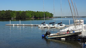 Sailing School at Lake Norman, North Carolina. Boats with a North Carolina sailing school are docked on a pier on Lake Norman stock images