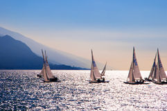 Sailing School off Riva del Garda Italy Stock Image