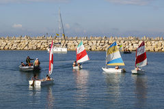 Sailing school participants ride sailboats in Herzliya Marina Stock Images