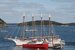 Sailing schooner, fishing boat, island royalty free stock photos