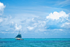 Sailing on the sea. Typical sail boat in Brazil Royalty Free Stock Photography