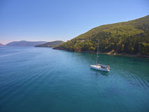 Sailing on the sea. Sailing on Ionian sea; drone photography Royalty Free Stock Photo