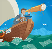 Sailing in the Sea of Money. Manager Sailing in the Sea of Money royalty free illustration