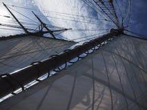 Sailing at sea, shot of rigging and sails Stock Photos