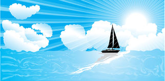 Sailing, sea, sky and clouds Royalty Free Stock Photos