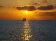 Sailing at sea sunset Stock Photography