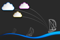 Sailing at sea under clouds, tourism flyer Royalty Free Stock Photography
