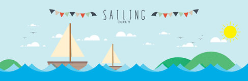 Sailing in the sea. Sailing in the sea vector illustration stock illustration