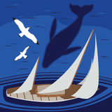 Sailing in the Sea With Whale Bird Eye View Royalty Free Stock Photo
