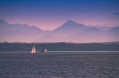 Sailing by a Seattle Ferry Royalty Free Stock Images