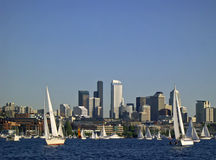 Sailing Seattle Style. The Duck Dodge sailboat race, Tuesday night on Lake Union in Seattle, WA Stock Photography