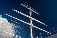 Sailing ship. Masts over the deep blue sky Royalty Free Stock Images