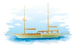 Sailing ship. Scene, vector illustration stock illustration