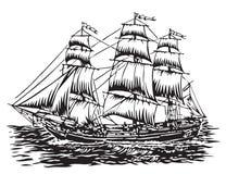 Sailing ship. Vector illustration of 3 masted sailing ship Royalty Free Stock Photos