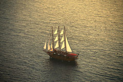 Sailing ship. View of a sailing ship on the ocean stock image