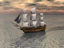 Sailing Ship 2. Ship under full sail making way though a calm ocean royalty free illustration