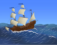 The sailing ship. Sailing ship sailing in the ocean Royalty Free Stock Photography