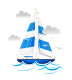 Sailing ship. The ship sails on the blue waves. Vector illustration Stock Image