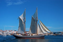 Sailing ship. Old sailing ship with full sails Royalty Free Stock Images