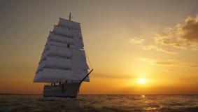 Sailing ship. In the sea Stock Photo