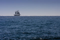 Sailing ship. On the ocean royalty free stock image