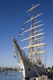 Sailing Ship. With lowered sails docked in port Stock Photos