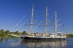 Sailing Ship. Tall ship flows on the river Odra, Poland Stock Image