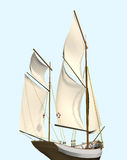 Sailing ship. Computer image, sailing ship 3D,isolated blue background Stock Images