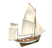 Sailing ship. Computer image, sailing ship 3D,isolated white background Stock Images