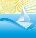 Sailing ship. On sea vector illustration Royalty Free Stock Images