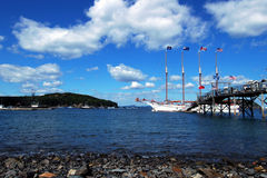 Sailing ship. At pier, Bar Harbor, Maine stock photo