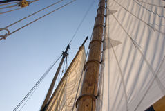 SAILING SHIP. Close up of sails on ship Stock Photos