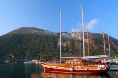 Sailing-ship. In Porto di Levante - Vulcano Island - Mediterranean Sea - Italy Stock Photography