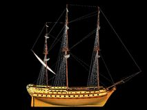 Sailing Ship. 3D ship black background Royalty Free Stock Images