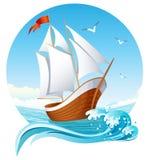 Sailing ship. Vector illustration - sailing ship emblem