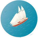 Sailing ship. Advertisement, infographics game or mobile apps icon. Sail Sea voyage yacht Club stock illustration