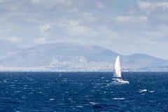Sailing ship in the Aegean sea Stock Photo