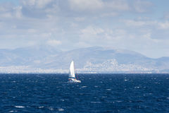 Sailing ship in the Aegean sea Stock Images