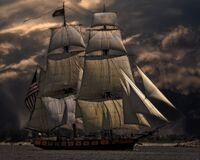 Sailing ship against dark skies Royalty Free Stock Photo