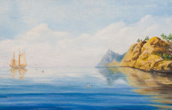 Sailing ship at anchor near a rocky coast. Calm on the sea. Oil painting on canvas Royalty Free Stock Photography