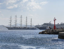Sailing ship anchored in the bay of Dubrovnik. Croatian city on the Adriatic Sea, in the region of Dalmatia Royalty Free Stock Images