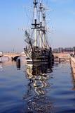 A sailing ship anchored in Neva river Stock Image