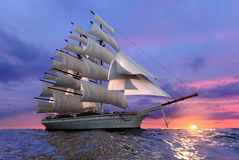 Free Sailing Ship At Sunset Royalty Free Stock Photography - 12032467
