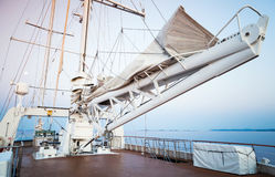 Sailing ship, automatic sails lift system Stock Photo