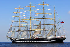 Big sailing ship at the Baltic Sea Stock Images