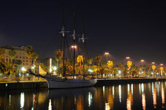 Sailing ship in Barcelona at night Stock Photos