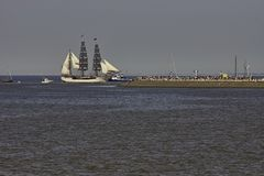 Sailing ship bark Europa entering Harlingen royalty free stock images