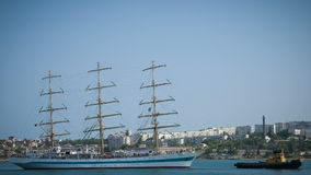 The Sailing ship in the bay stock video